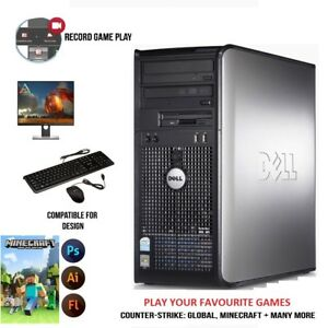 WINDOWS 10 GAMING COMPUTER PC INTEL CORE 2 DUO 8GB RAM 1TB HDD DESIGN AND GAMING