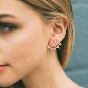 Image Is Loading Ear Jacket Double Sided Front Back Earrings Cz
