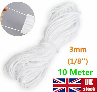 Uk 3mm Elastic Band Round Sewing Rope White Cord Diy Material For