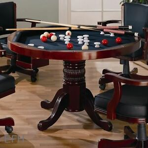 New cherry 3 in 1 dining game table poker bumper pool ebay for 10 in 1 games table