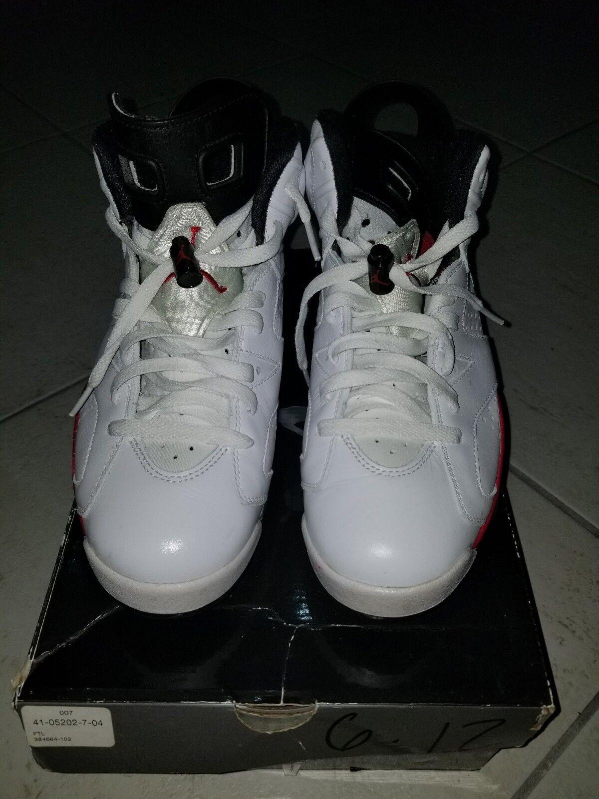 Nike Air Jordan VI 6 6 6 Retro WHITE VARSITY RED BLACK 384664-102 82cc4a