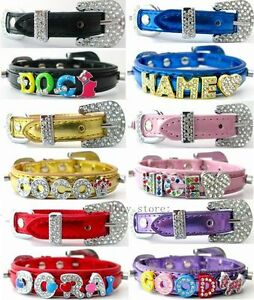Rhinestone-Personalized-dog-collar-leather-For-Dog-Cat-Puppy-DIY-Crystal-Name