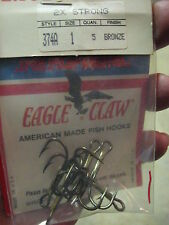 10 Eagle Claw Bronze Finish 2x Strong Treble Fishing Fish Hooks Size 1 374a