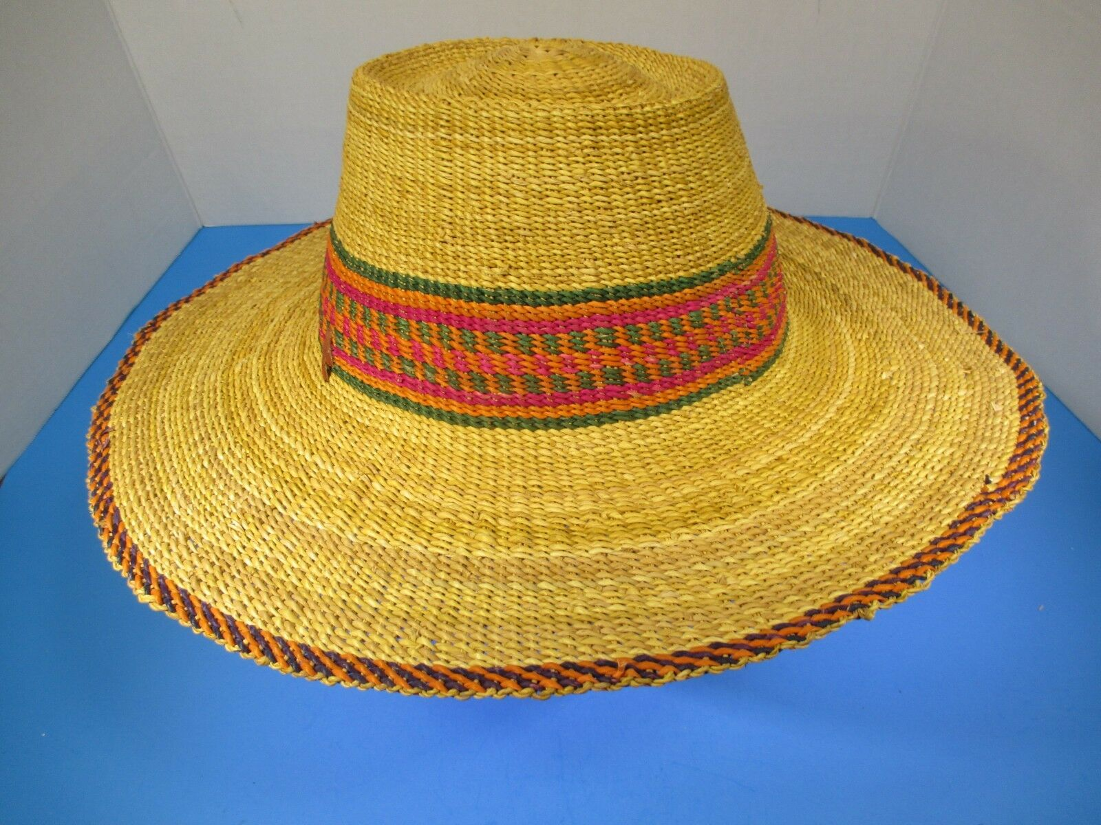 Authentic Hand Woven Argentinean Colorful Wide Brim Straw Garden Hat Ghana #58