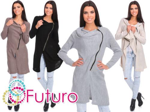 Womens Ladies Long Sleeve Cardigan Jumper Cowl Neck Asymmetric Zip Sweater MV151