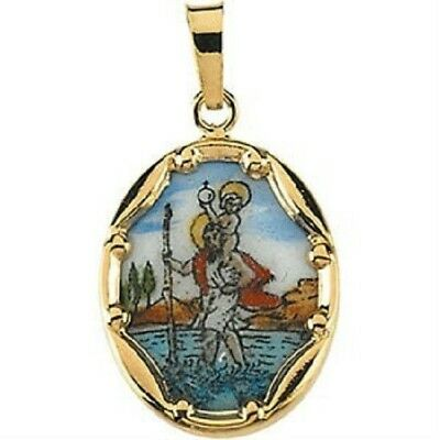 14k Yellow Gold Moses Hand-Painted Porcelain Medal