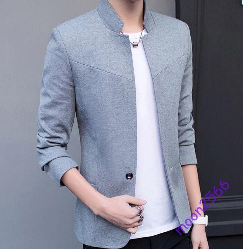 Men Vintage Stand Collar One Button Slim Fit Blazer Suits 4colors Size M-5xl