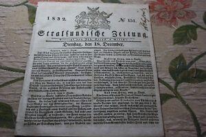 GéNéReuse 1832 Stralsund Journal 151/-afficher Le Titre D'origine Blanc Pur Et Translucide