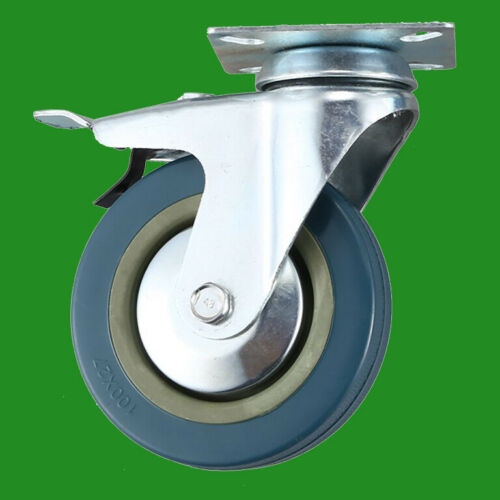 4x 50mm Blue//Grey Rubber Heavy Duty Swivel Wheel Castors 50kg Load With Brake