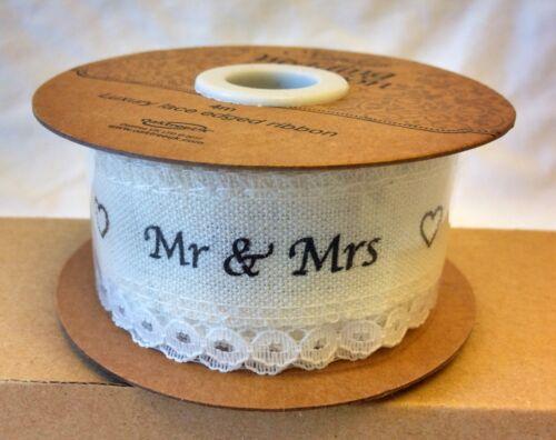 Luxe Dentelle Bord Imprimé ruban Mr /& Mrs-Happily Ever After-Mariée Et Marié 1 m.