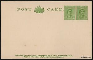 1942-QEII-1d-Green-Uprated-BW-P71-CV-150-Postcard-Stationery-Stamps-Australia