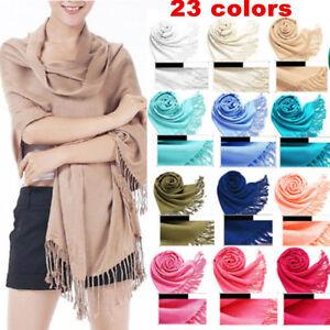Fashion-Cashmere-Silk-Solid-Long-Pashmina-Shawl-Wrap-Women-Girls-Scarf-Warm-Soft