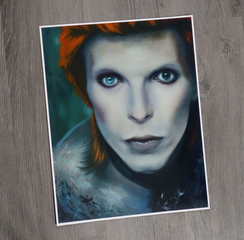 PRINT David Bowie Portrait 11x14 Poster Art Oil Painting Realism Ziggy Stardust
