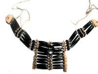 Men's Bone Choker Necklace Black Buffalo Hair Pipes Large Size Mini Breast Plate