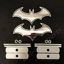 2pcs Metal Chrome Batman Dark Knight Mask Car Front Grille Emblem Badge Decals
