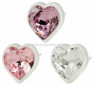 Hypoallergenic-Blomdahl-medical-plastic-crystal-heart-stud-earrings-nickel-free