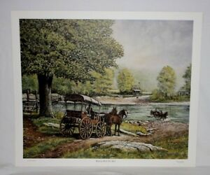 Waiting-with-the-Mail-KY-Artist-Fred-Thrasher-US-Mail-Wagon-Horse-Post-Office-SN