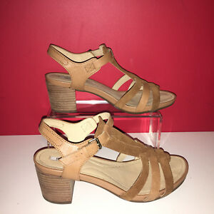 a0c7893164acd Details about GEOX TAN Leather Strappy Block Heel Sandals Ankle Strap UK  5.5 EU38.5 Worn Once