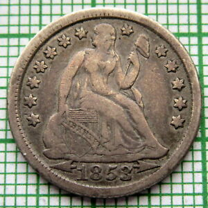UNITED-STATES-1853-DIME-10-CENTS-SEATED-LIBERTY-ARROWS-AT-DATE-SILVER-PATINA