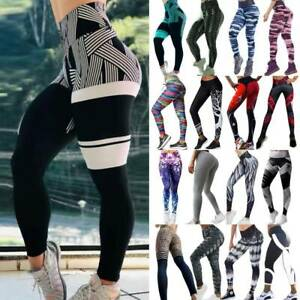 Womens-Yoga-Pants-Compression-Fitness-Leggings-Running-Gym-Scrunch-Workout-US-AM