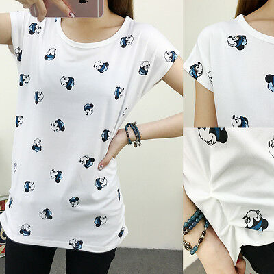 Women Girl  Plue Size Loose Fashion Cute  Mickey Mouse Print Shirt  Blouse Tops