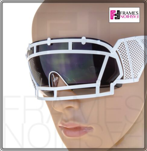 0a221fcc87a3 ... KTZ x Linda Farrow Football Helmet Sunglasses Black White Mirrored Mask  KTZ1
