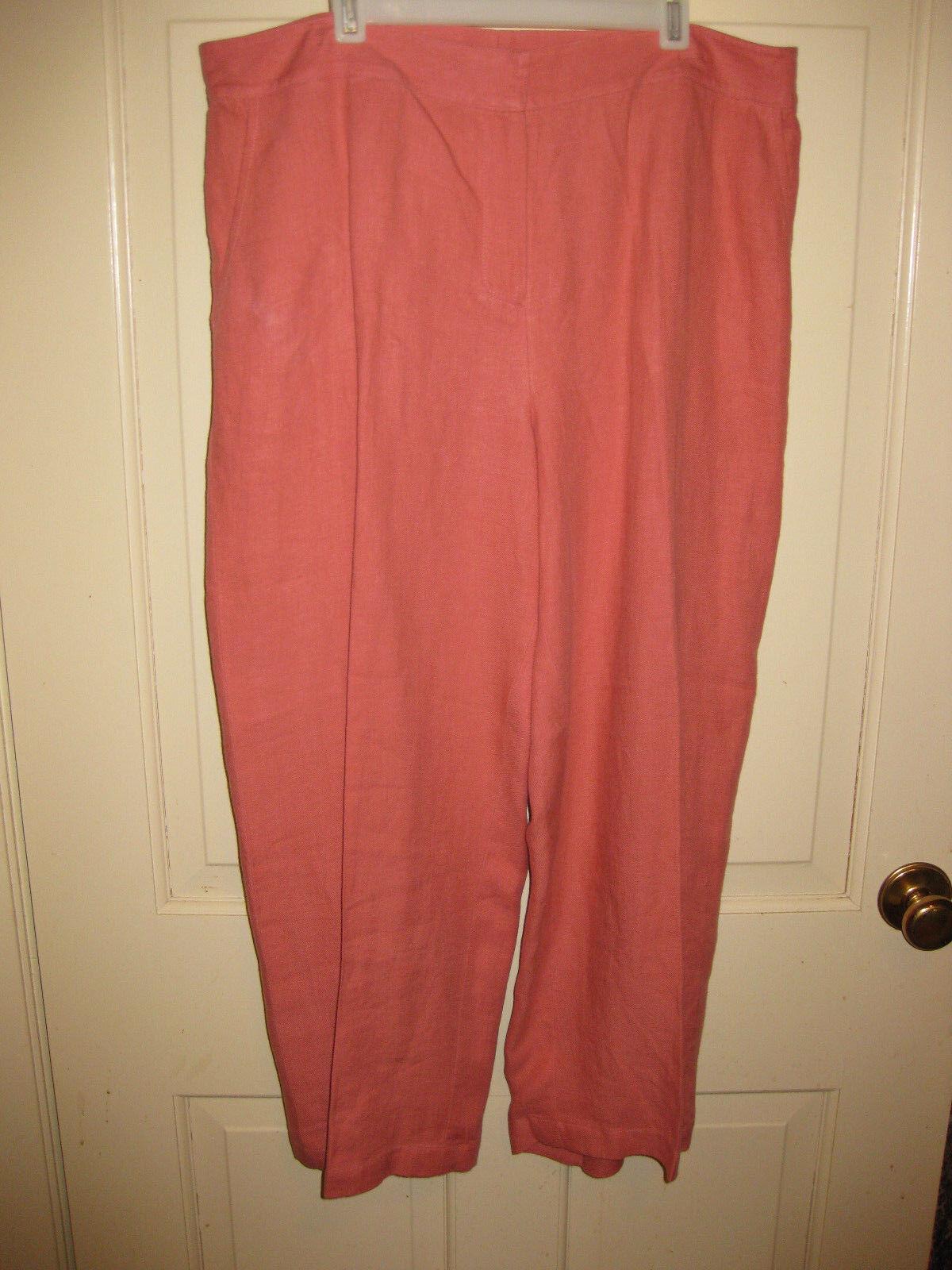 Eileen Fisher PL Cropped Pants LT Orange100% Linen Petites EUC