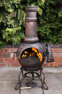 Image Is Loading Solid Cast Iron Chimenea And BBQ Combi Bronze