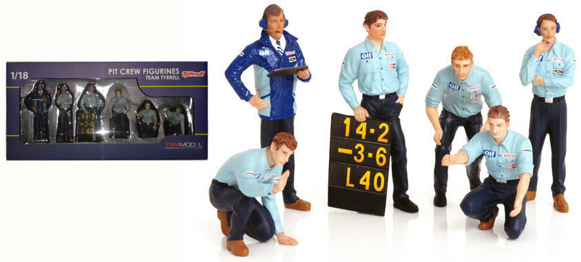 Truescale TSM12AC12 Pit Crew Figurines Team Tyrrell F1 (Set Of 6) 1 18 Scale