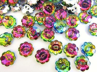 30 Multi-Color Flower Jewel Rhinestone 12mm Sewing Button Hole/sewing/trim Sb67