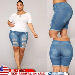 Plus-Size-Women-Ripped-Slim-Capri-Jeans-Shorts-Skinny-Denim-Shorts-Casual-Pants
