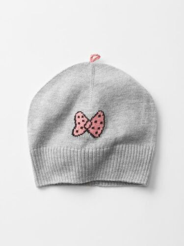 GAP Baby Toddler Girl Size 12-18 Months NWT Gray Pink Bow Intarsia Sweater Hat
