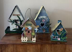 Lot-of-4-Metal-Wooden-Bird-House-Decorative-Candle-Holder-Bird-Feeder