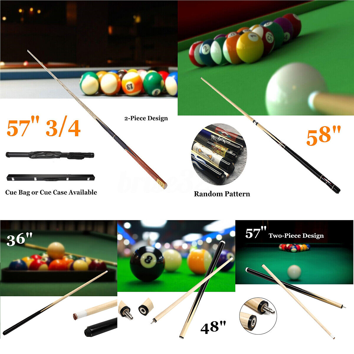 57/'/' Pool Snooker Billiard Cue 2-Piece 1//2 Eco Jointed Stick For Game Sport