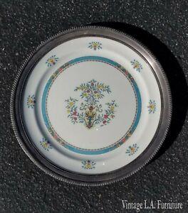 Vintage-Decorative-Serving-Silver-Trim-Plate-by-Limoge-Numbered-14-0417