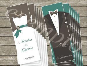 Segnaposto Matrimonio Ringraziamento.N 100 Segnalibro Ringraziamento Segnaposto Bomboniera