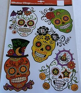HALLOWEEN-Window-Cling-COLORFUL-SUGAR-SKULLS