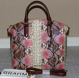 Brahmin-Large-Duxbury-Satchel-Bag-Purse-Ember-Reina-Snakeskin-Handbag-NWT