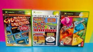 3-Games-Lot-Microsoft-Xbox-OG-Midway-Arcade-Treasures-Namco-Museum-Trivial-Purs