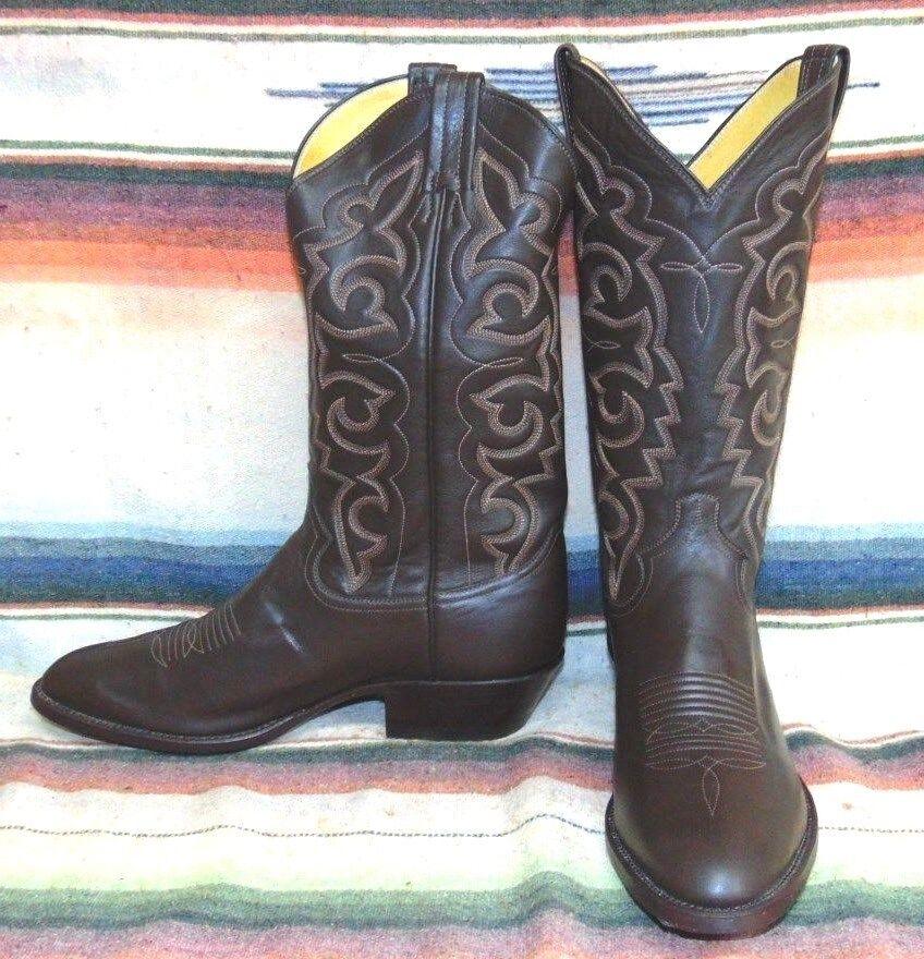 Vintage Panhandle Slim Cuero Marrón botas De Vaquero Para Hombre 8 D mujer 9.5 M Nuevo