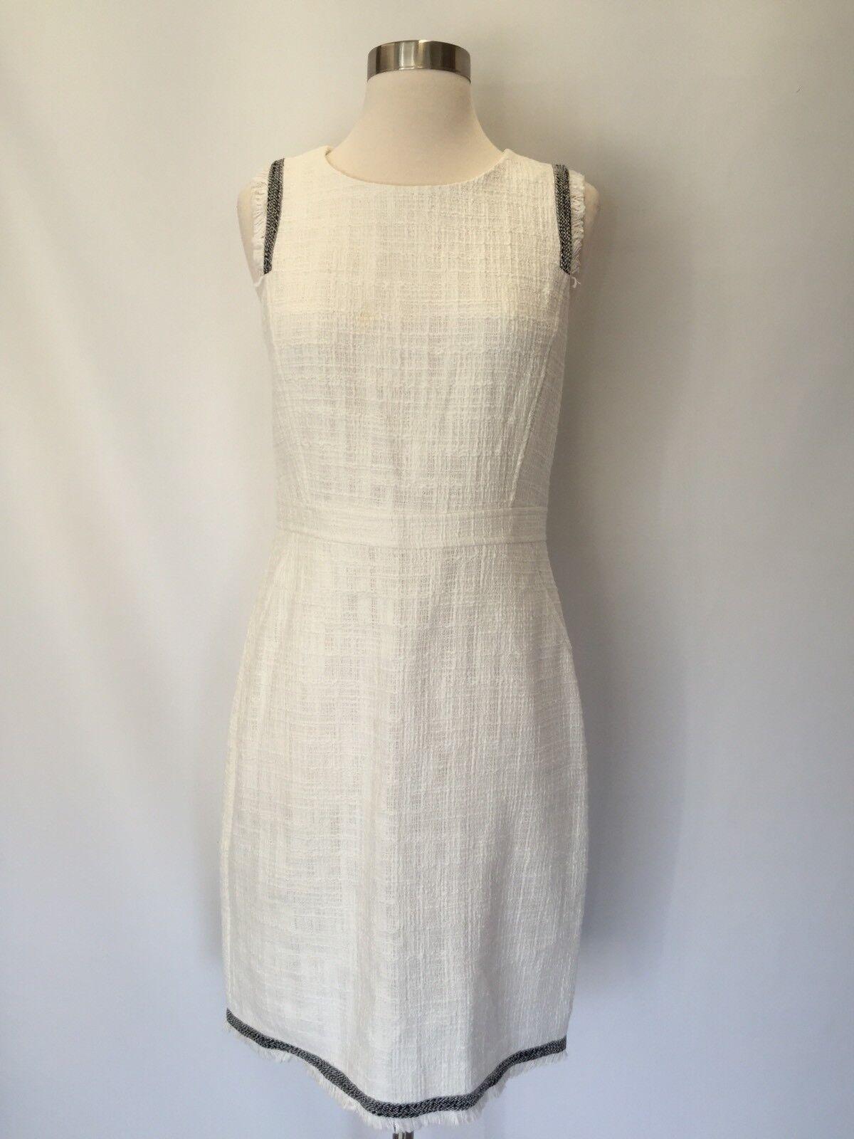 New J.Crew Sheath Dress In Texturot Tweed Marine Salt Weiß Sz 8 E9487