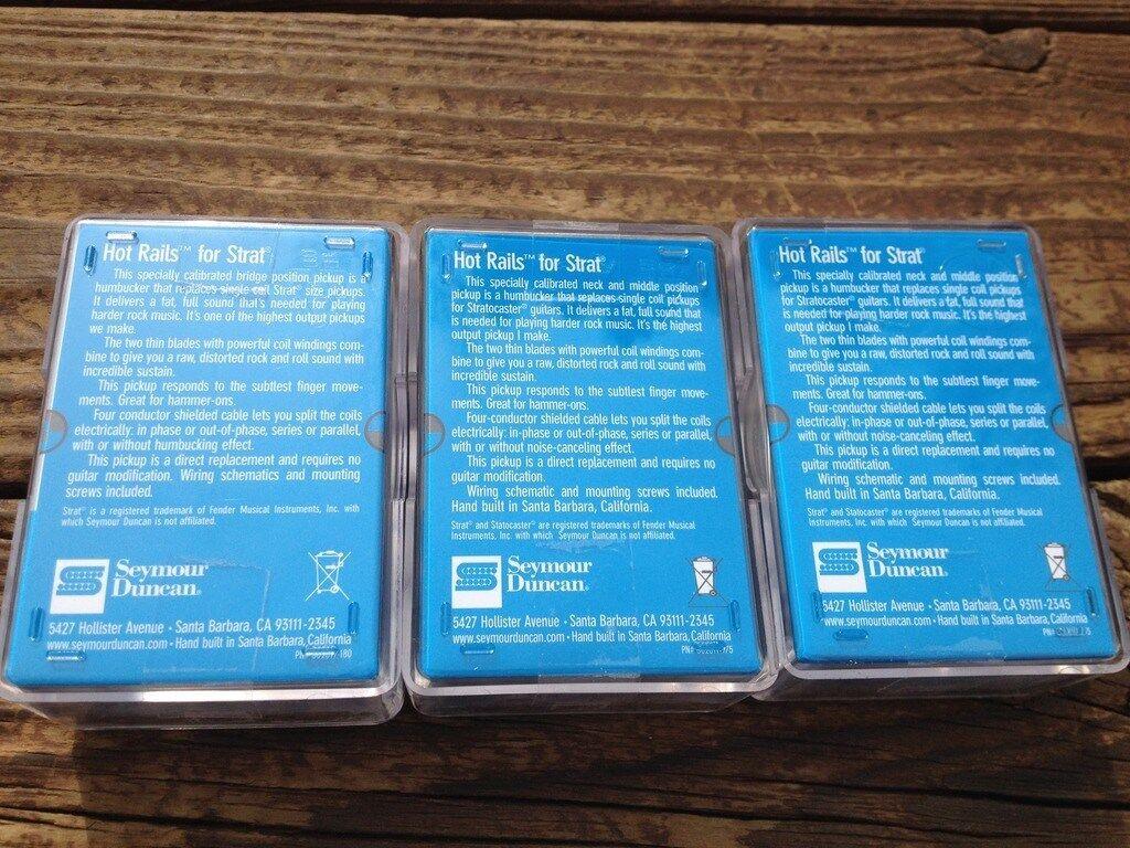 Seymour Duncan SHR-1 Strat Hot Rails Set Black 2x SHR-1n / 1x SHR-1b ...