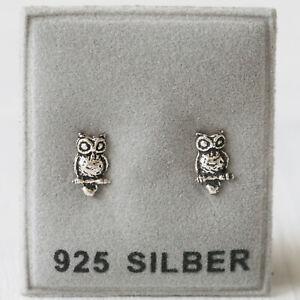 NEU 925 Silber OHRSTECKER mit Eulen OHRRINGE Eule OWL Vögel VOGEL Uhus