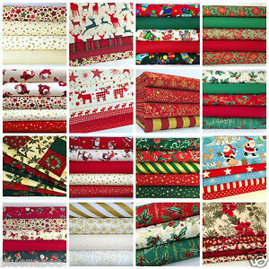 Christmas-Fat-Quarter-Bundles-100-Cotton-Craft-Fabric-Reds-Greens-Ivory