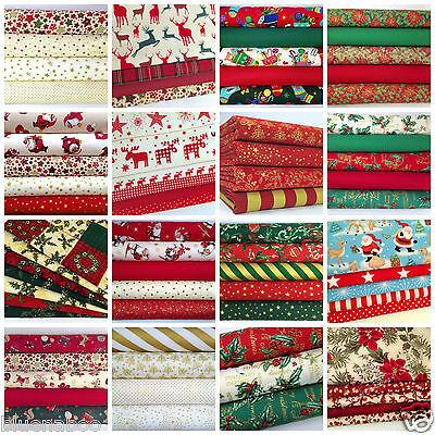 Christmas Fat Quarter Bundles, 100% Cotton Craft Fabric, Reds, Greens, Ivory