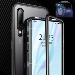 Magnetic-Adsorption-9H-Tempered-Glass-Metal-Case-Cover-For-Huawei-P30-Lite