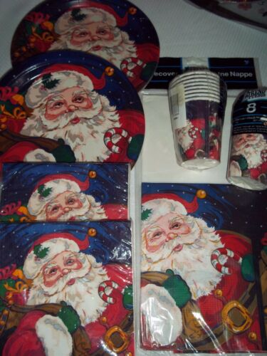 105 pcs Christmas ST. NICK Santa Claus 56 Napkins 28 Plates 16 Cups Table Cover