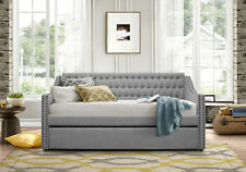 Item 8 Light Grey Tufted Sofa Twin Bed Dorm Room Daybed With Trundle Bedroom Furniture
