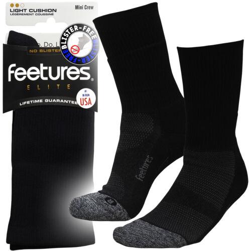 Feetures Elite Plain Black Mini Crew Blister Irritation Free Running Gym Socks