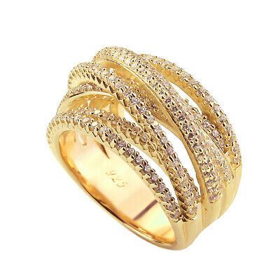 15mm 14K Yellow Gold Plated Silver Intertwined CZ Pave Set Right Hand Ring